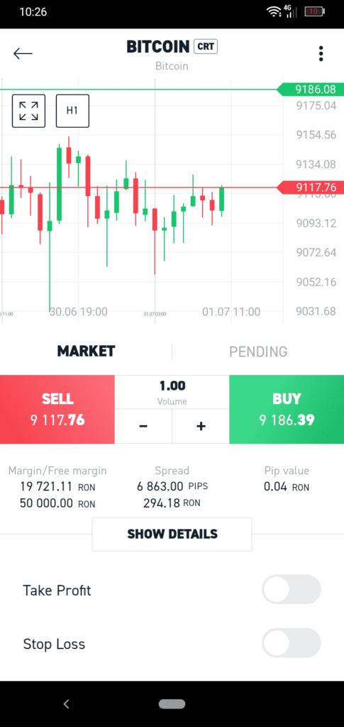 XTB Bitcoin Mobile App Screenshot